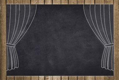 empty black chalkboard with curtain drawing, wood frame and space for text