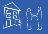 Silhouette of two businessmen shaking hands in front of house fo