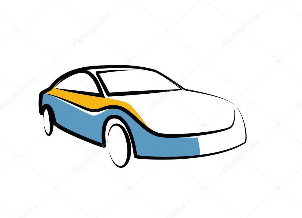 einfache Zeichnung eines modernen Sportwagen - Auto Skizze ...