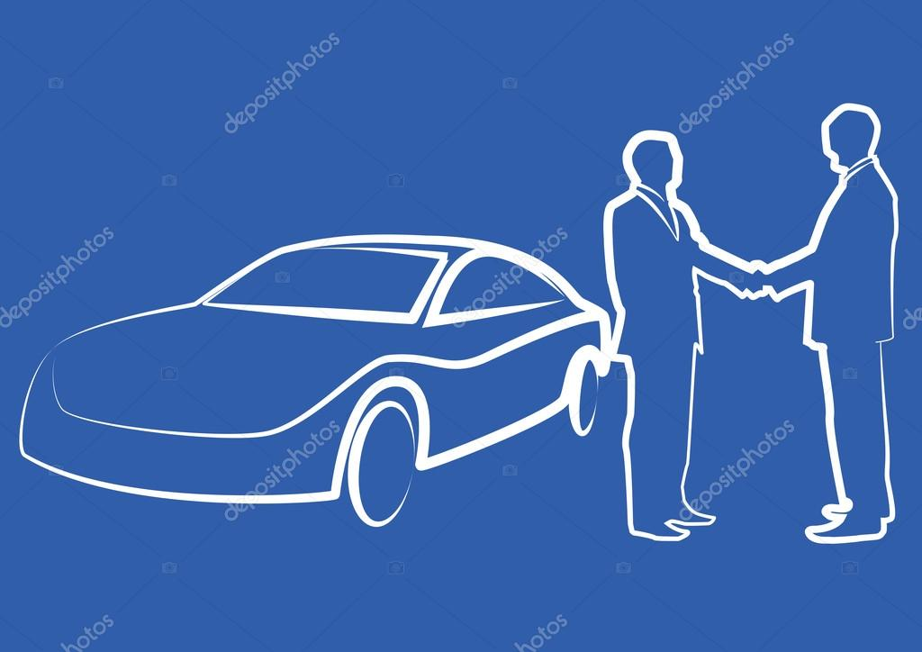 two businessmen shaking hands in front of a car - illustration ,