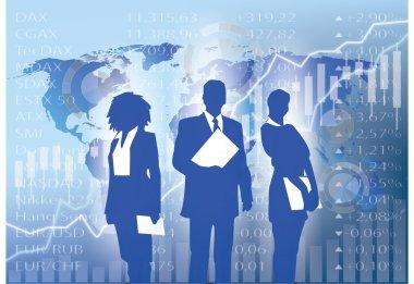 business people silhouette - stock market illustration backgroun