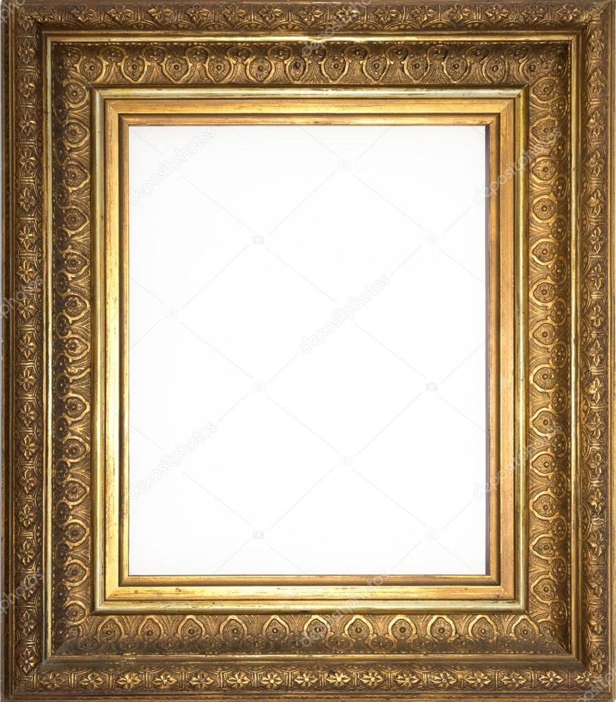 Goldener Rahmen isoliert, dekorierte Bilderrahmen — Stockfoto ...