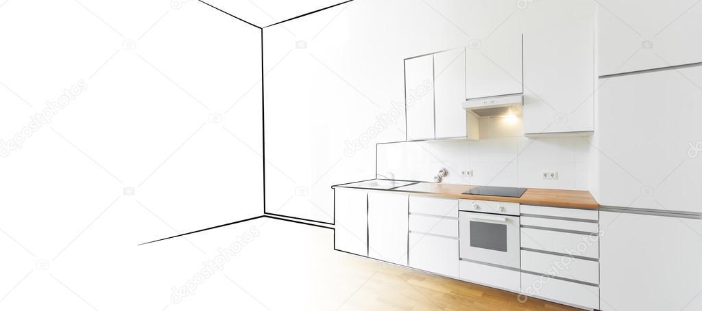 Innenarchitektur skizze  Küche-Skizze und Foto - Innenarchitektur-Konzept — Stockfoto #98253982