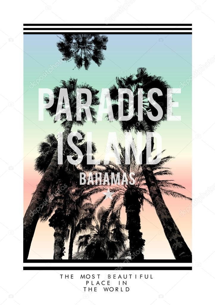 Palm trees print with slogan
