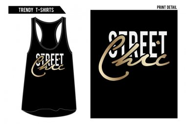 slogan tee with gold foil and on vest top.