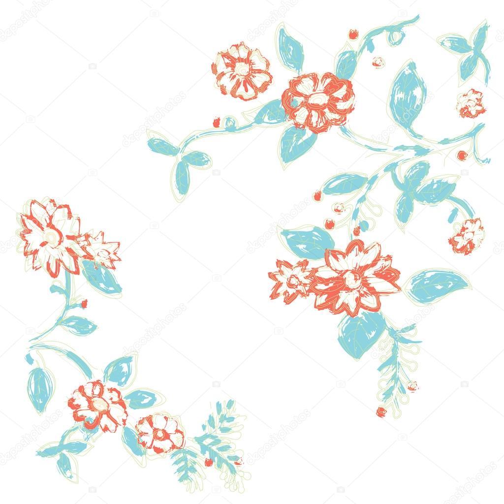 d8e29a4da43b Estampa floral com costura — Vetores de Stock © WorkingPENS #77851868