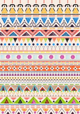 Abstract, ethnic, seamless pattern with colorful geometric elements stock vector