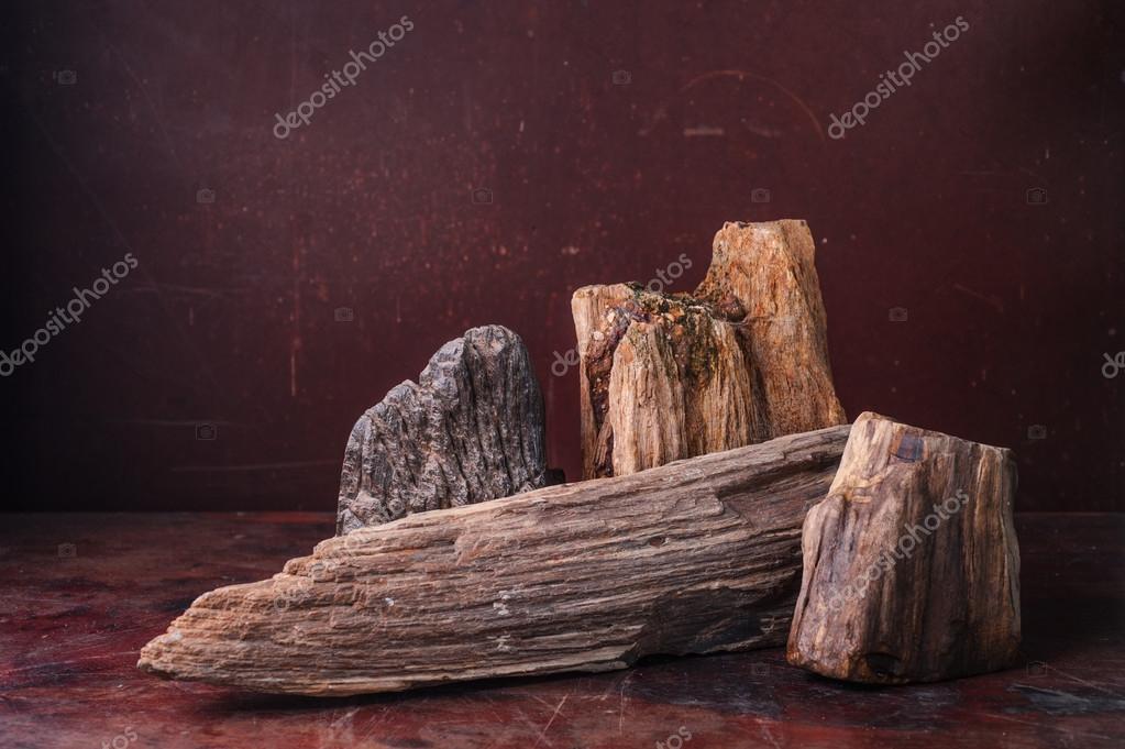 Tafel Versteend Hout : Versteend hout zet op tafel in donkere achtergrond u stockfoto