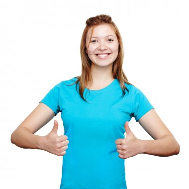Smiling young woman showing thumbs up