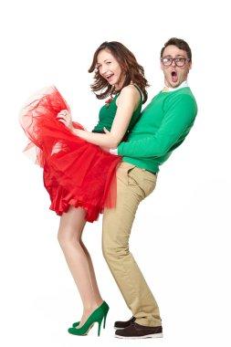Happy nerd couple dancing