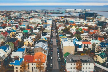 Rejkavik Aerial view. Tilt Shift