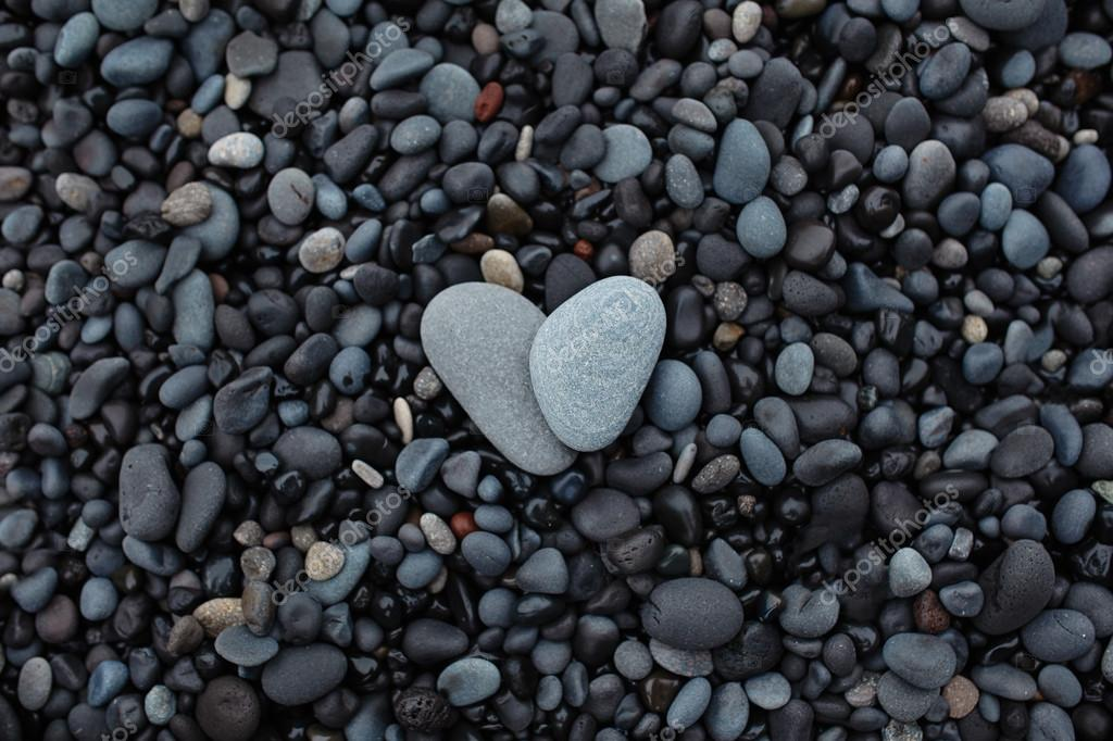 Grey stones in shape of heart
