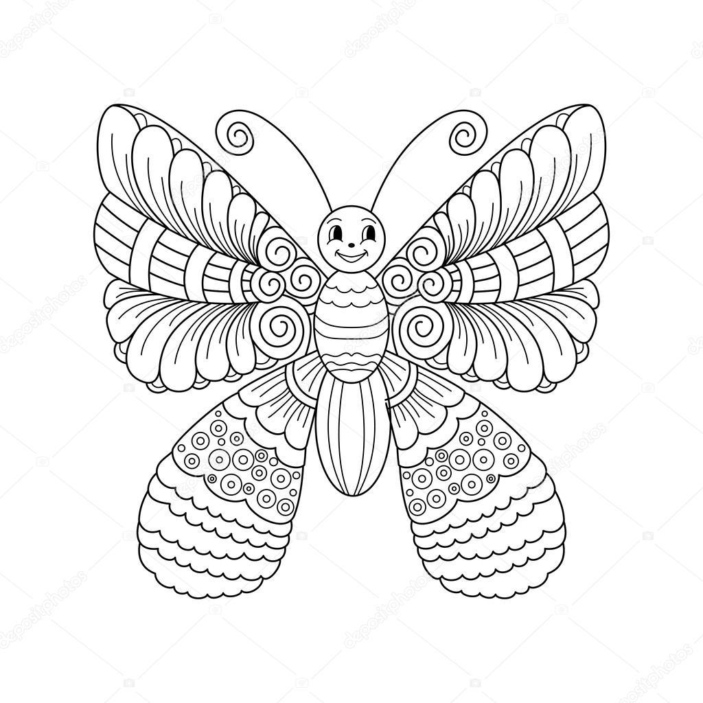 Sevimli çizgi Kelebek Ile Süsleme Stok Vektör Collibri 112868100