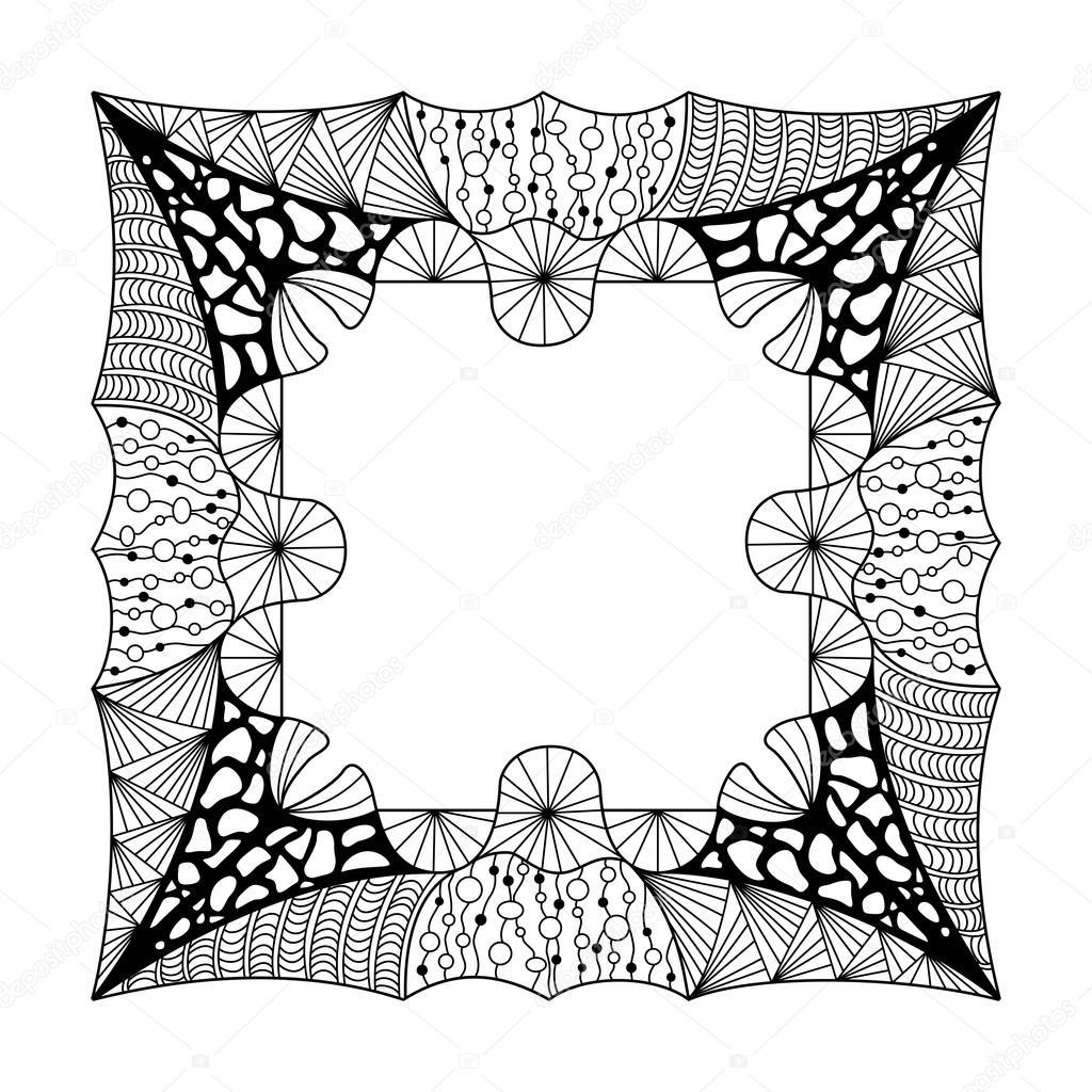 Quadratische schwarze und weiße Rahmen mit Ornament-Doodle-Stil ...