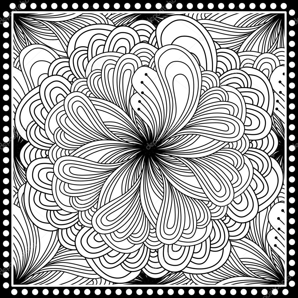 Black and white abstract bandana print with fantasy flower stok black and white abstract bandana print with fantasy flower square pattern design for pillow carpet rug design for silk neck scarf kerchief mightylinksfo