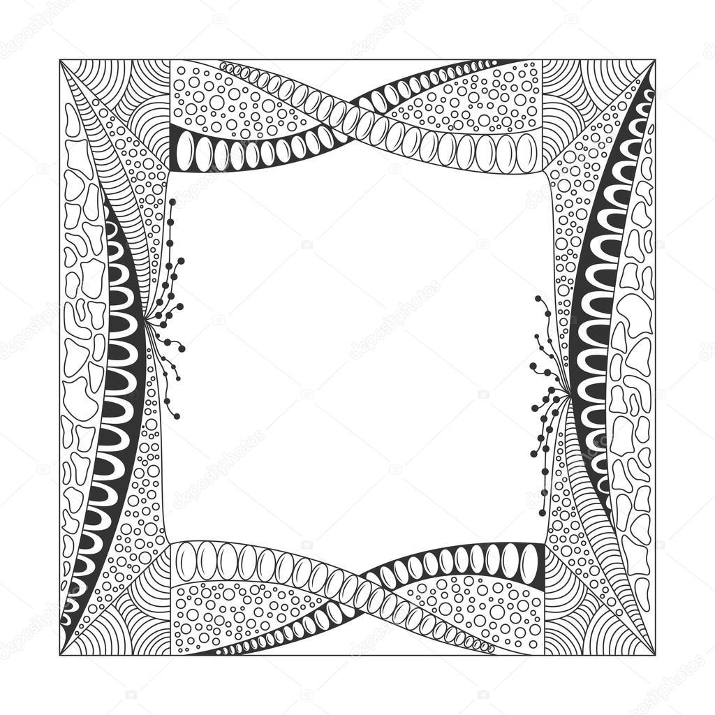 Quadratische schwarze und weiße Rahmen mit Verzierung — Stockvektor ...