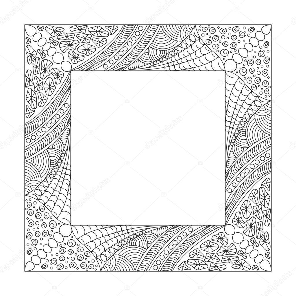Marco cuadrado blanco y negro con adorno — Archivo Imágenes ...