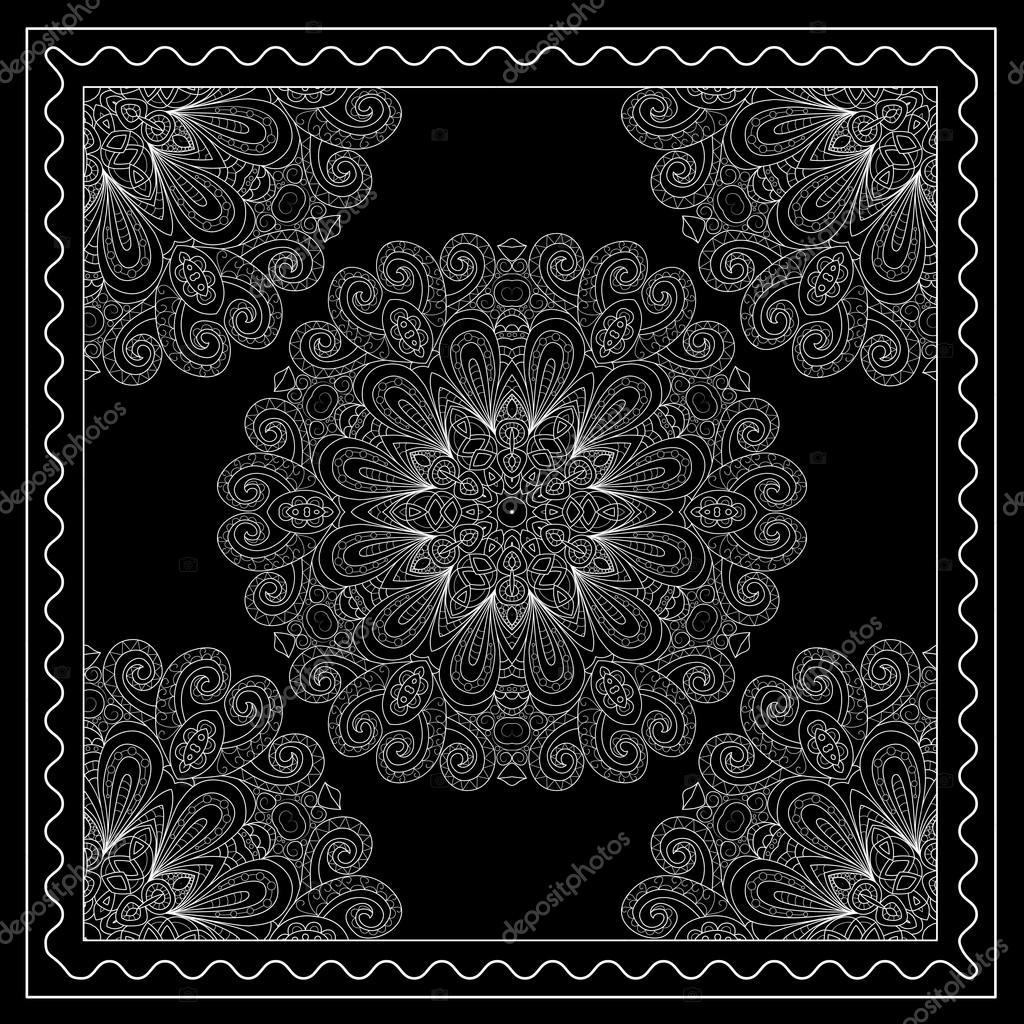 73c4b5d5 Blanco y negro bandana impresión con ornamento de mandala. Pañuelo ...