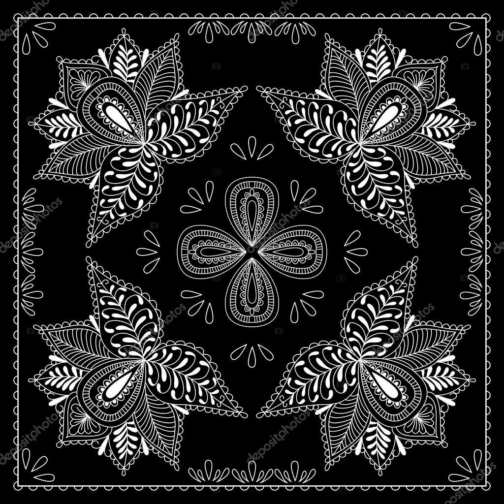 a4346e9d Blanco y negro abstracto bandana impresión con estilo de elemento ...
