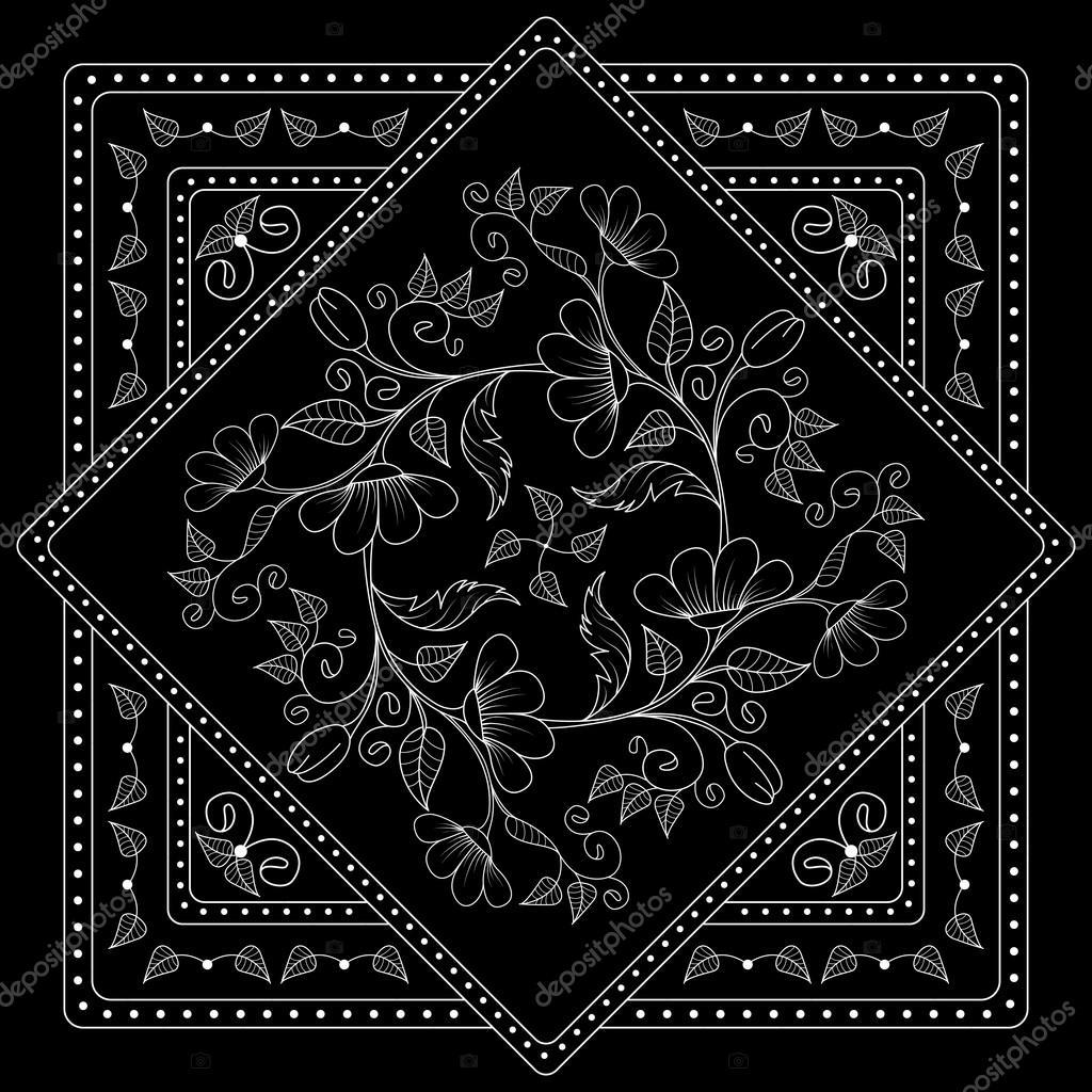 bd834b4c Blanco y negro bandana impresión con flores. Patte de cuadrados ...