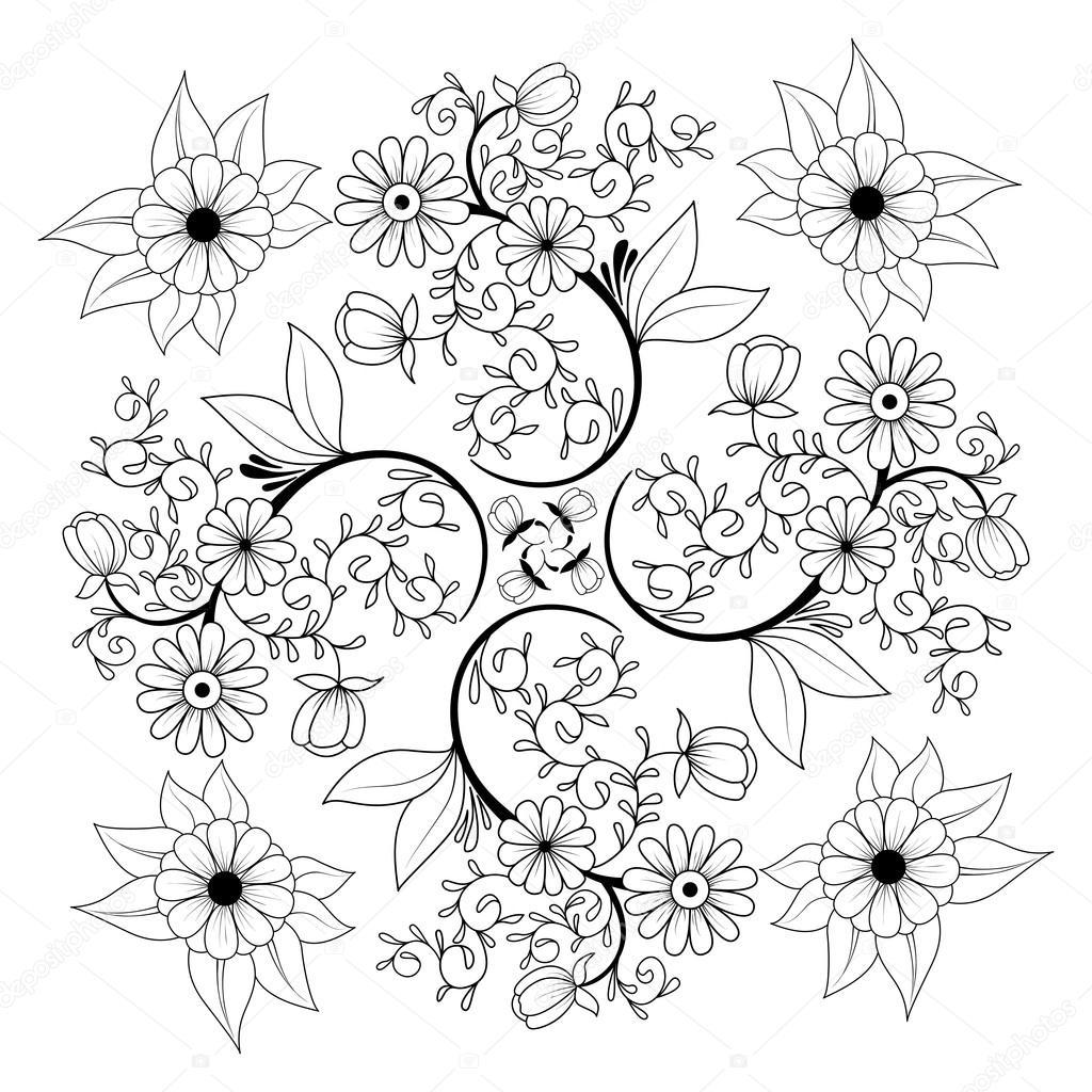 Handgezeichnete Blumen Malvorlagen. Hintergrund, Abdeckung ...
