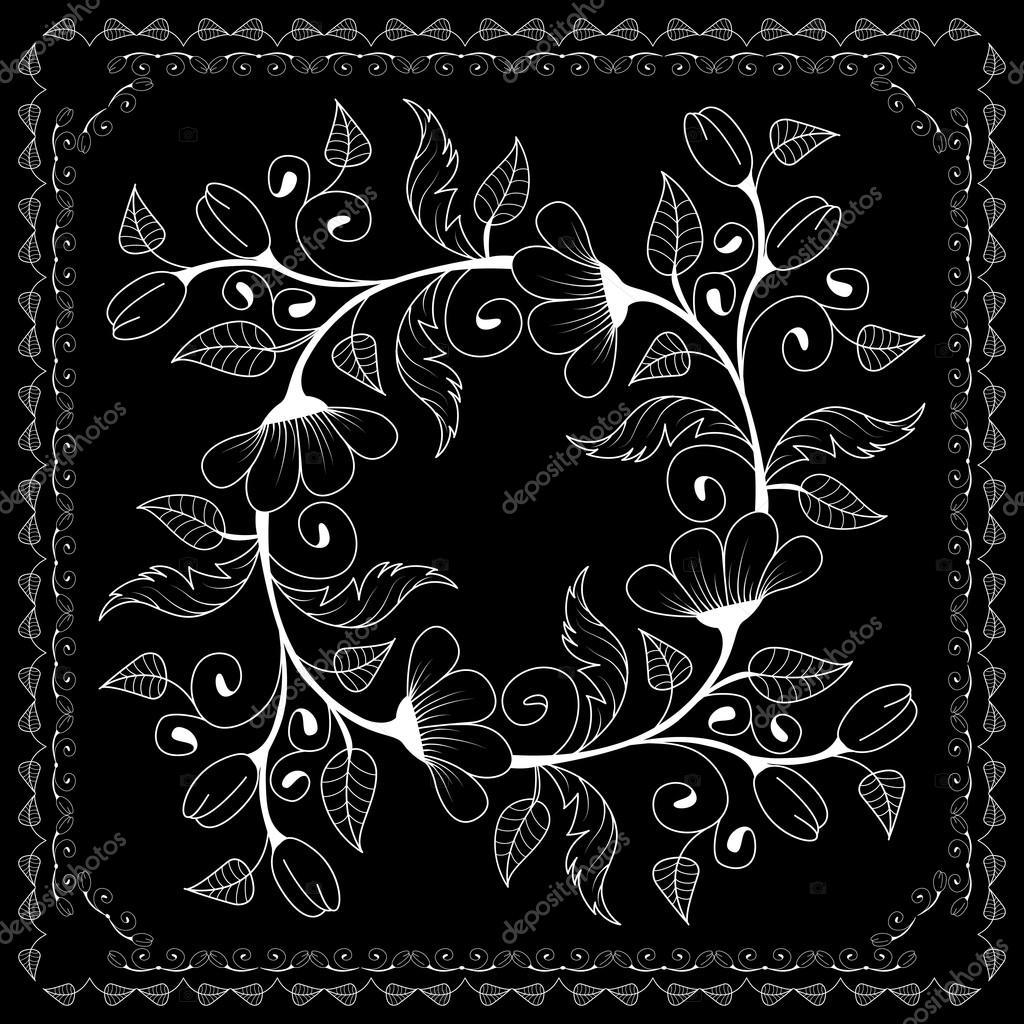27a66706 Pañuelo blanco y negro impresión de flores — Archivo Imágenes ...
