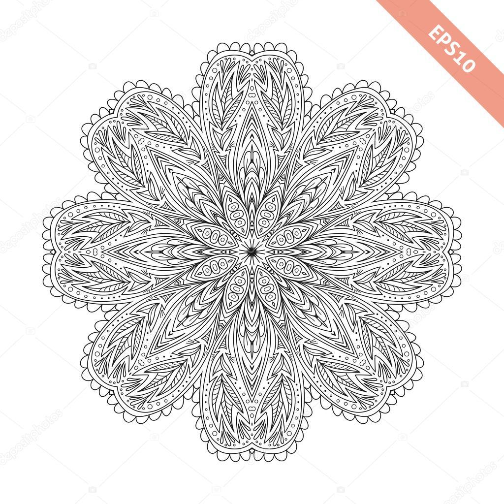 Ornamento redondo floral abstracta. Mandala. Fondo, cubierta ...