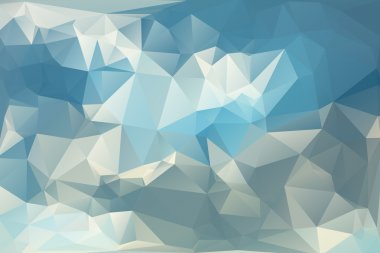Abstract Triangle Low Poly Blue Color Background Set.