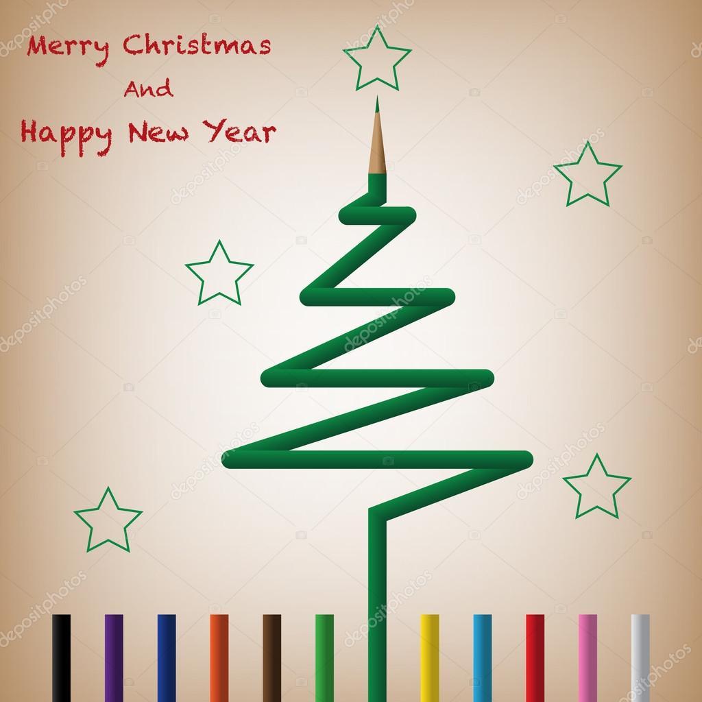 Árbol de Navidad de lápiz de Color — Vector de stock © seelawat ...