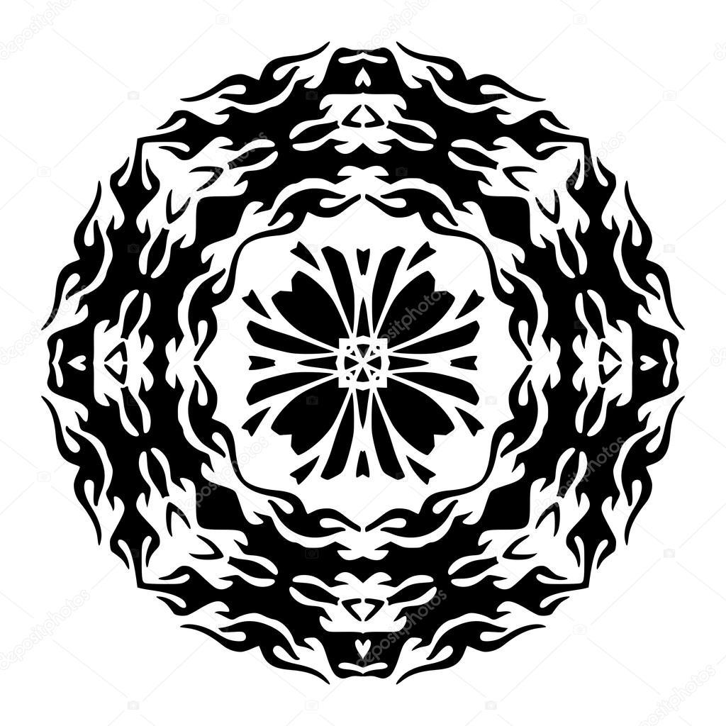 Plantilla floral para tatuaje y dise o mandala de flores - Plantilla mandala pared ...
