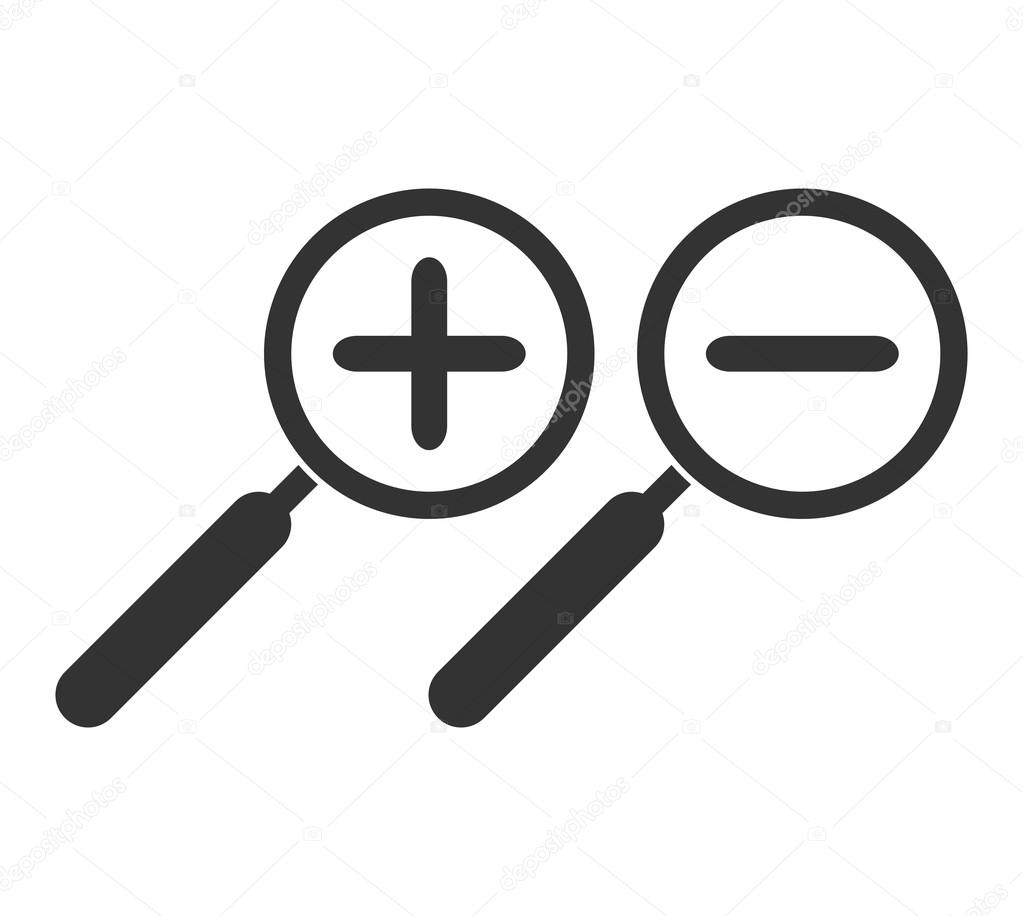 Zoom In And Zoom Out Symbol Magnifying Glass Isolated Stock