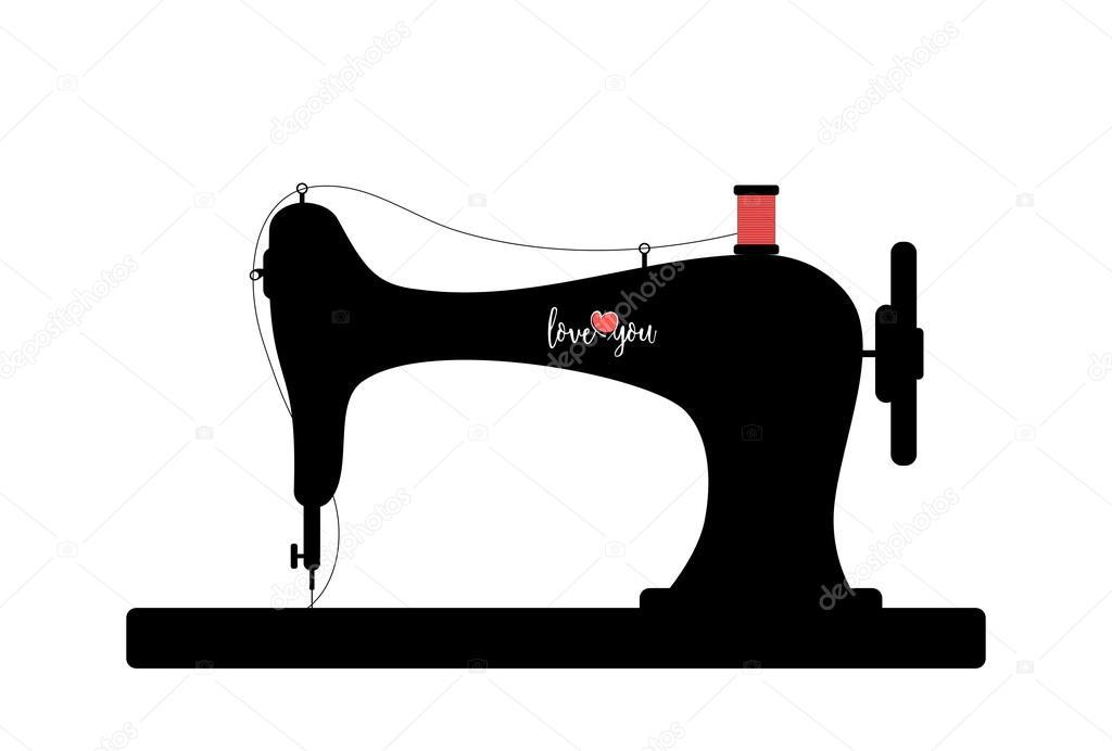 Vector: silueta maquina de coser   Máquina de coser