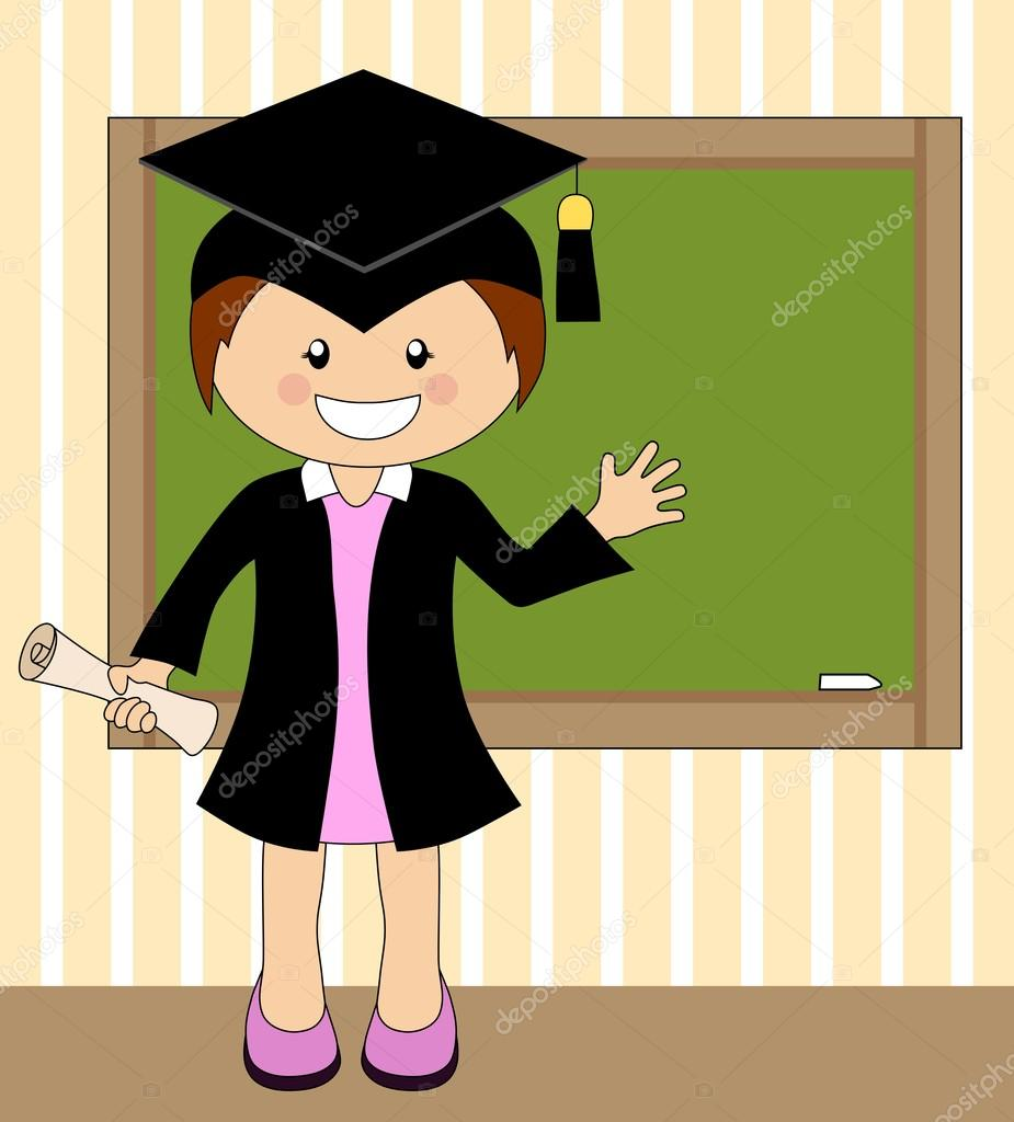Cartoon girl in cap and gown graduate — Stock Vector © matahiasek ...