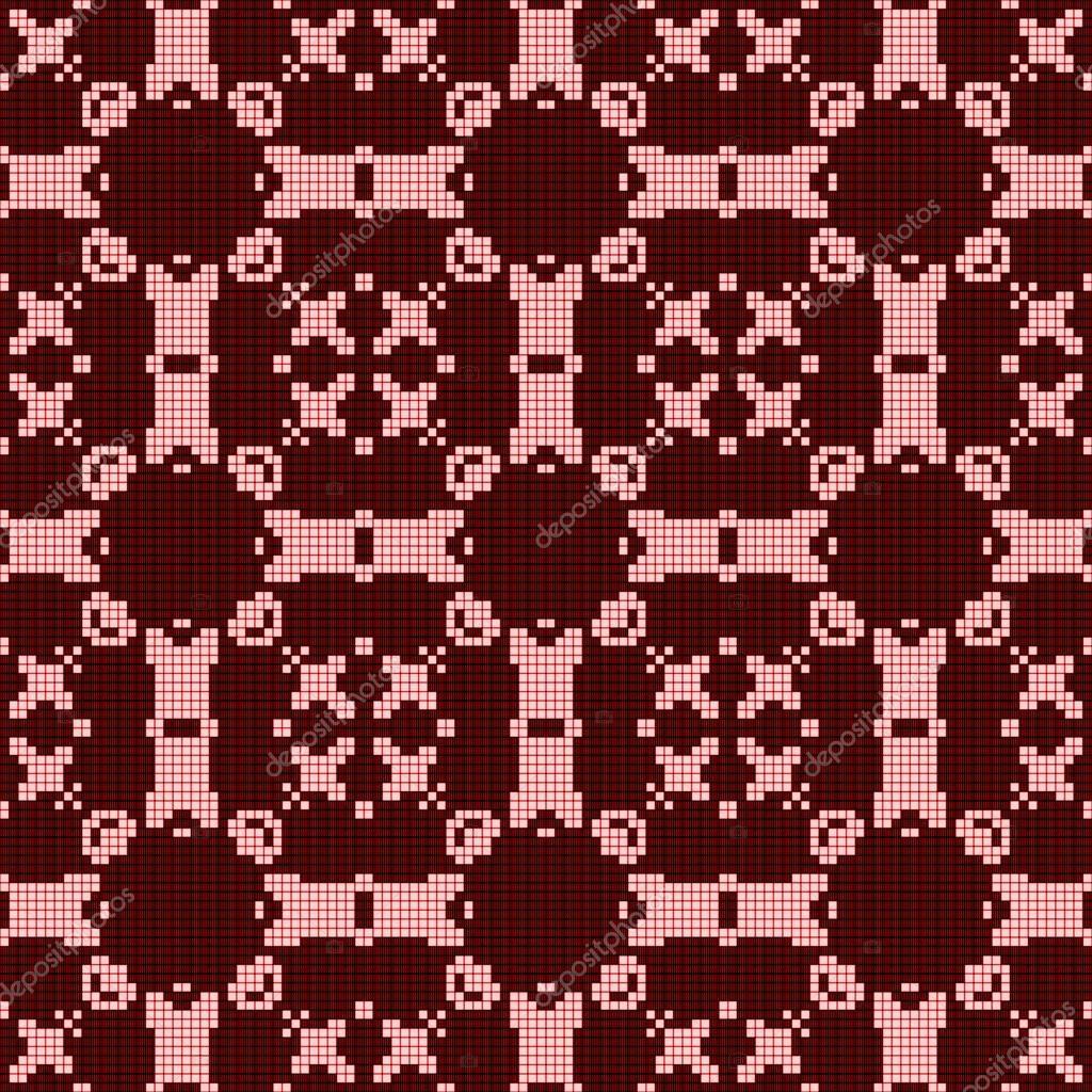 Diseño de encaje de crochet Filet. Patrón sin costuras en rojo ...