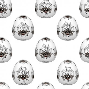 Seamless easter eggs pattern with spiders