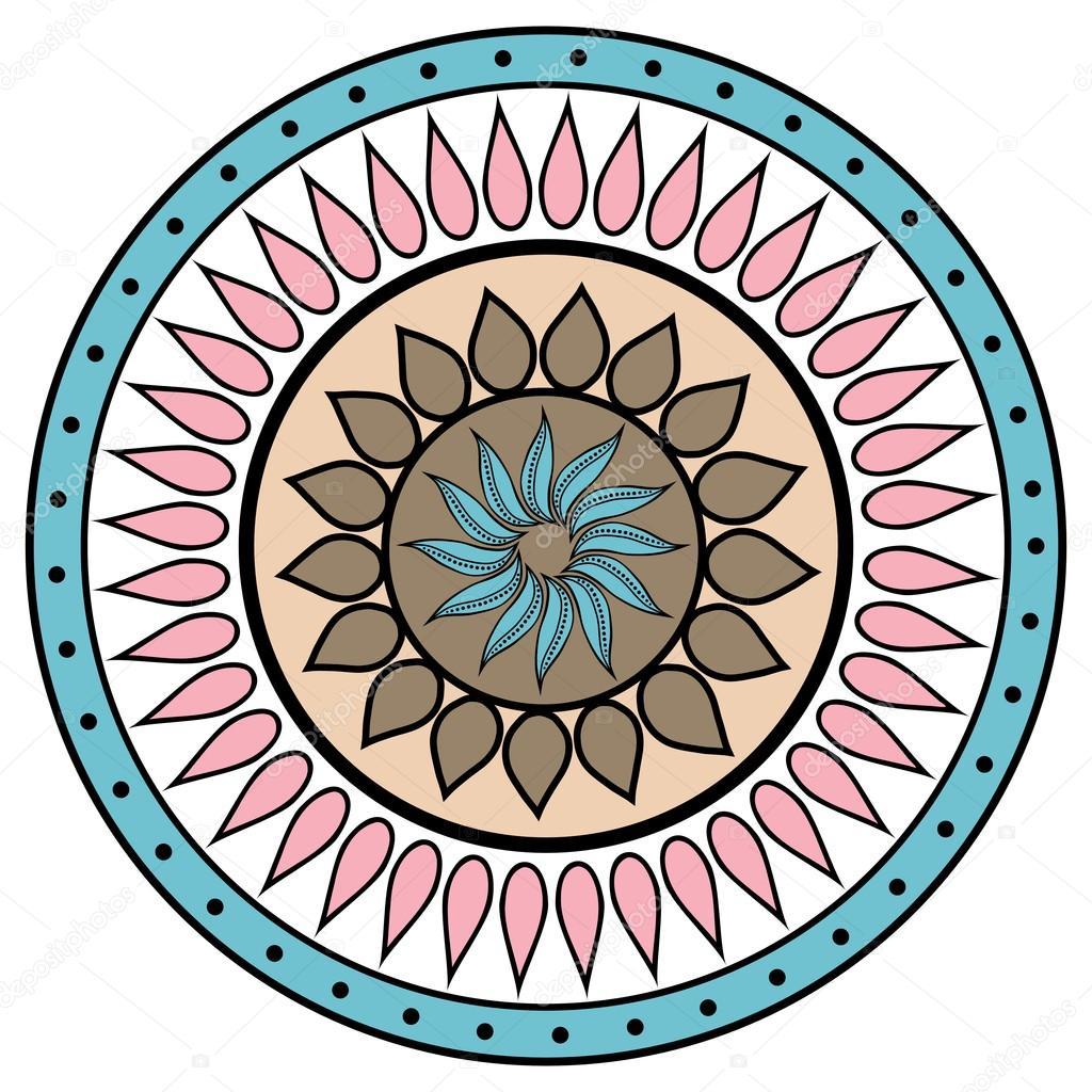 Mão colorido desenho zentangle elemento de mandala