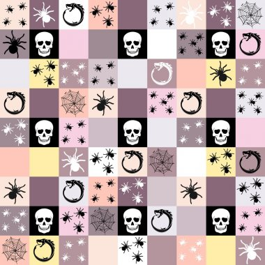 Halloween themed seamless mosaic background or pattern