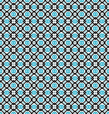 Seamless pattern or background in turquoise blue, black and white