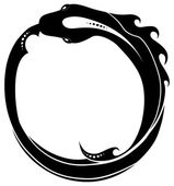Fotografie Ouroboros (snake eating its own tail)  tattoo isolated