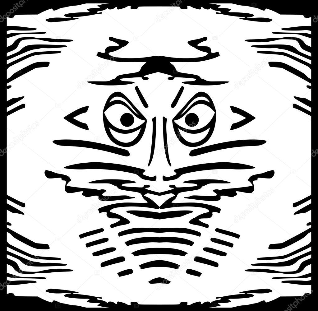 Gesicht, schwarze Silhouette für Ihr Design, Rand — Stockvektor ...