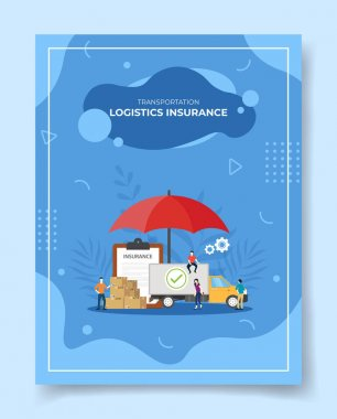 Transportation logistics insurance people around truck delivery box package contract policy insurance clipboard umbrella for template of banners, flyer, books cover, magazines with liquid shape style vector design illustration icon