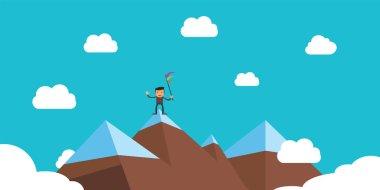 businessman success on peak performance