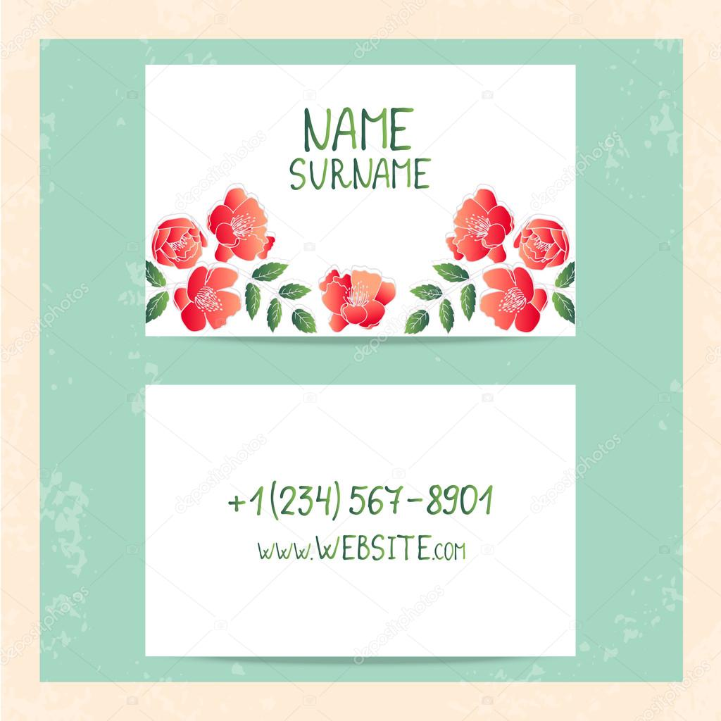 Floral vintage business cards, invitations or announcements ...