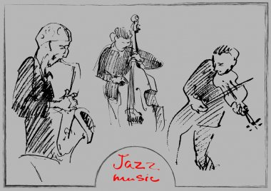 Sets of the sketched musicians. Handdrawn illustration