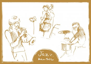 Sets of the sketched musicians. Hand-drawn illustration