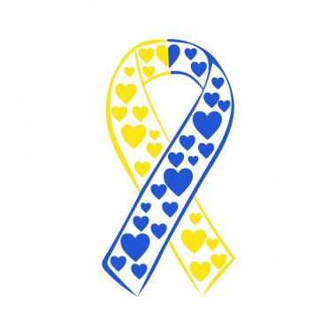 World down syndrome day yellow blue ribbon
