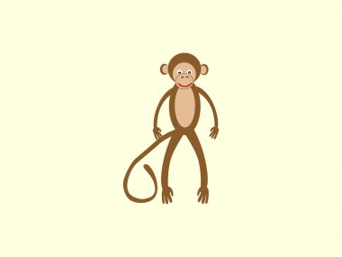 Brown monkey with a long tail in the style of children