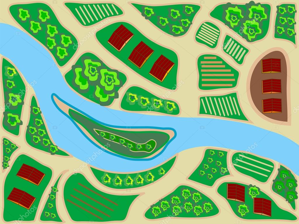 a stylized map of the area top view river field greens house trees