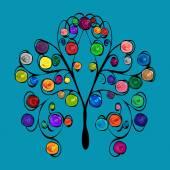 Fényképek Fa absztrakt mintás színes gyümölcsök