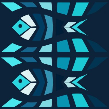 Blue fish mosaic vector background